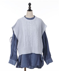 Shirt tunic with vest(Blue-Free)