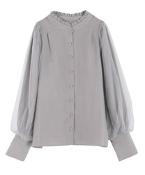 Tulle layered blouse(Grey-Free)