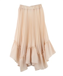 Pleated Long Length Skirt with Irregular Frilled Hem(Ecru-M)