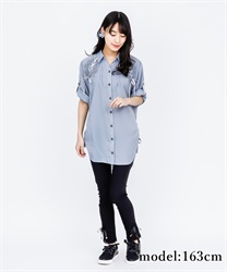 【2Buy10%OFF】DrDressped shirt Dress(Saxe blue-Free)