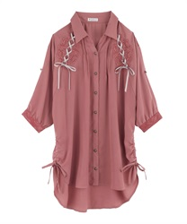 【2Buy10%OFF】DrDressped shirt Dress(Orange-Free)