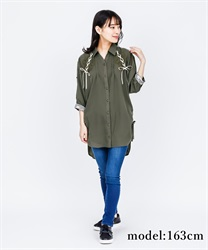 【2Buy10%OFF】DrDressped shirt Dress(Khaki-Free)