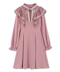 Ruffle Frill Dress(DarkPink-Free)