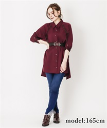 【2Buy10%OFF】Lace-up shirt tunic(Wine-Free)