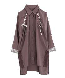 【2Buy10%OFF】Lace-up shirt tunic(Mocha-Free)