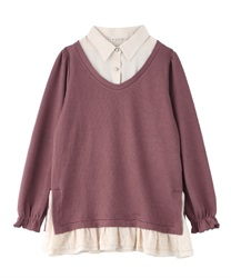 Shirt layered tops(DarkPink-Free)