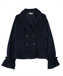 Peplum style short trench coat(Navy-Free)