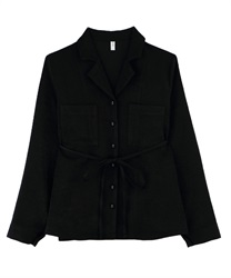 "Loose Shirt with ""Removable Waist Ribbon""(Black-M)"