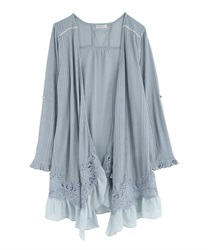 Lace Trim Topper Cardigan(Saxe blue-Free)