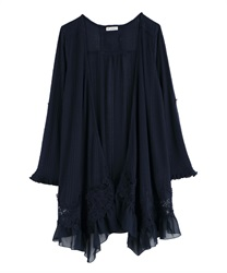 Lace Trim Topper Cardigan(Navy-Free)