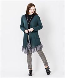 Topper cardigan(Dark green-Free)