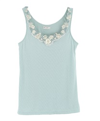 Lace tank top with padding.(Green-Free)