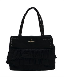 Canvas Tote Bag with Pockets(Black-M)