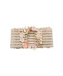 Marine x Flower Elastic Belt(Gold-M)