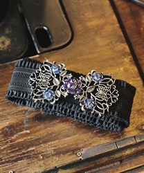 Rose×butterfly design rubber belt(Silver-M)