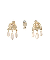 Ornament pearl earrings(Pale pink-M)
