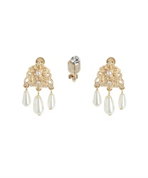 Ornament pearl earrings(Gold-M)