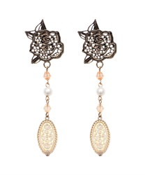 Earrings with Lace Motif Pendant(Antiquegold-M)