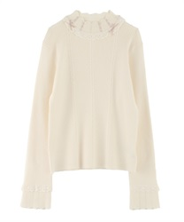 Short Turtleneck Pullover with High Laced Ribbon(Ecru-Free)