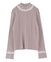 Short Turtleneck Pullover with High Laced Ribbon(Pale pink-Free)