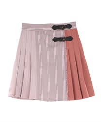 Patchwork Design Skirt pants(Pale pink-Free)