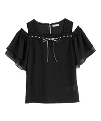 【2Buy20%OFF】Shoulder Opening Design Cut Pullover(Black-Free)