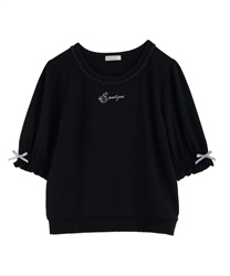 Teacup Embroidery Pullover(Black-Free)