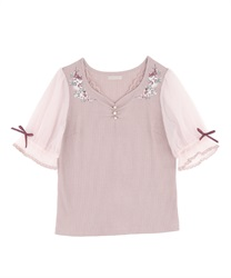 Flower Embroidery Cut PO(Pale pink-Free)