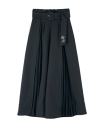 Slit pleated pants(Navy-Free)