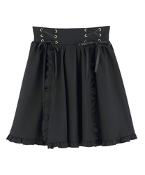 【2Buy20%OFF】Ruffle lace up skirt(Black-Free)