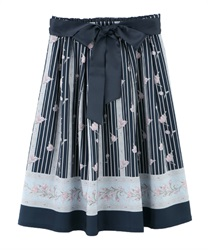 Tulip Pattern Middle Skirt(Navy-Free)