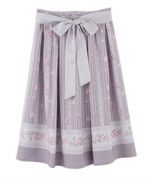 Tulip Pattern Middle Skirt(Lavender-Free)