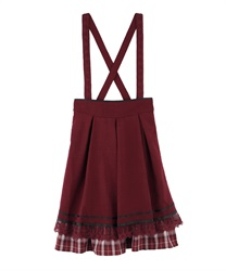 [Special item] check Frill with suspension Skirt(Red-Free)