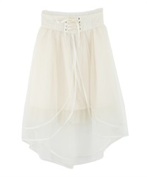 Mullet Skirt with High Lace Waist Belt Design(Ecru-Free)
