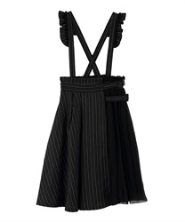 Pleated design with suspension Skirt(Black-Free)