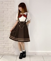 Classic College Skirt(Brown-Free)