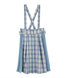 "Side Pleated Plaid Skirt with ""Removable Suspender""(Saxe blue-Free)"