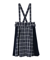 "Side Pleated Plaid Skirt with ""Removable Suspender""(Navy-Free)"