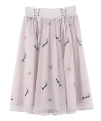 Embroidered tulle skirt with messages(Pale pink-Free)