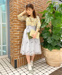 Embroidered tulle skirt with messages(Grey-Free)