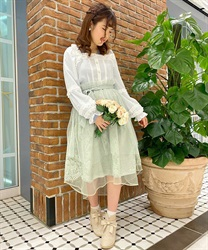 Lace × Tulle Asymmetric Skirt(Green-Free)