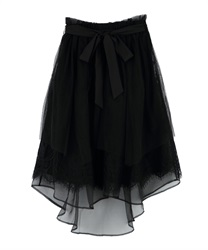Lace × Tulle Asymmetric Skirt(Black-Free)