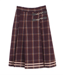 【10%OFF】Check pattern skirt(Wine-Free)
