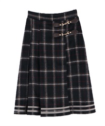 【10%OFF】Check pattern skirt(Navy-Free)