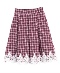 Lace on hem tweed skirt(Wine-Free)
