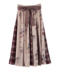 Plaid x Floral Switching Patterns Skirt(Wine-Free)