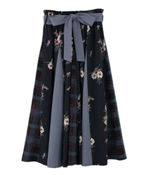 Plaid x Floral Switching Patterns Skirt(Navy-Free)
