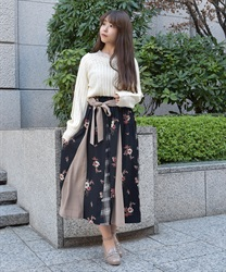 Plaid x Floral Switching Patterns Skirt(Black-Free)