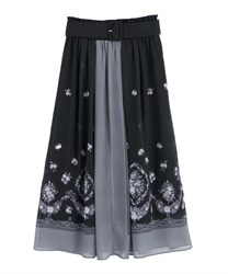 【2Buy10%OFF】Bouquet panel patterned medium skirt(Black-Free)
