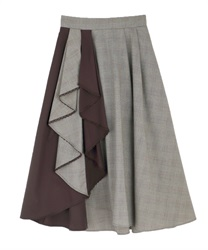Bicolor frilled skirt(Brown-Free)